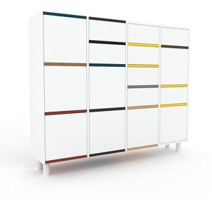 Kommode Weiß - Lowboard: Schubladen in Weiß & Türen in Weiß - Hochwertige Materialien - 156 x 130 x 35 cm, konfigurierbar