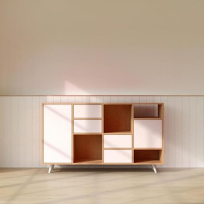 Kommode Buche - Lowboard: Schubladen in Weiß & Türen in Weiß - Hochwertige Materialien - 156 x 91 x 35 cm, konfigurierbar