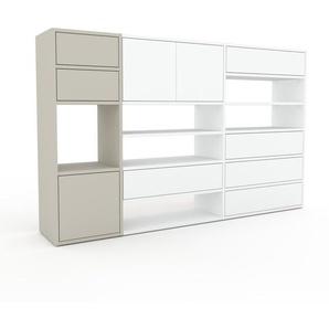 Kommode Sandgrau - Lowboard: Schubladen in Weiß & Türen in Weiß - Hochwertige Materialien - 190 x 118 x 35 cm, konfigurierbar