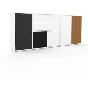 Kommode Weiß - Lowboard: Schubladen in Weiß & Türen in Weiß - Hochwertige Materialien - 190 x 80 x 35 cm, konfigurierbar