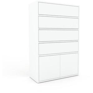 Kommode Weiß - Lowboard: Schubladen in Weiß & Türen in Weiß - Hochwertige Materialien - 77 x 118 x 35 cm, konfigurierbar