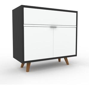 Kommode Anthrazit - Lowboard: Schubladen in Weiß & Türen in Weiß - Hochwertige Materialien - 77 x 72 x 35 cm, konfigurierbar