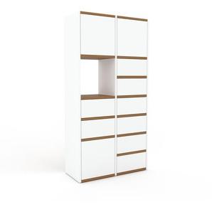 Kommode Weiß - Lowboard: Schubladen in Weiß & Türen in Weiß - Hochwertige Materialien - 79 x 157 x 35 cm, konfigurierbar