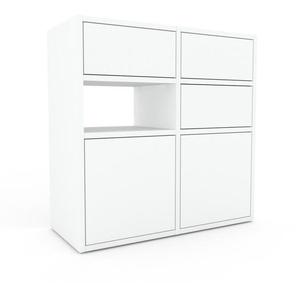 Kommode Weiß - Lowboard: Schubladen in Weiß & Türen in Weiß - Hochwertige Materialien - 79 x 80 x 35 cm, konfigurierbar