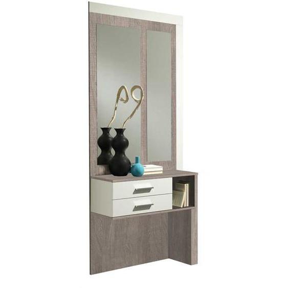 Kompakte Garderobe in Weiß Hochglanz Eiche Sonoma (2-teilig)