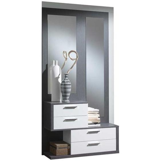 Kompakte Garderobe in Weiß Hochglanz Grau