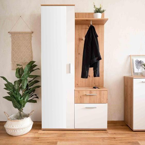Kompaktgarderobe in Eiche Nachbildung und Weiß, 2 Türen, 4 Einlegeböden, 1 Schubkasten, 1 Spiegel, 2 Haken, 1 Kleiderstange, B/H/T ca. 97/196/30 cm