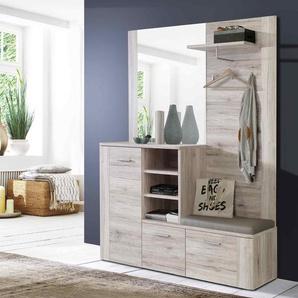 Kompaktgarderobe Sandeiche-Nb., 3 Türen, Spiegel, Hutablage, Haken, 3 Fächern, Sitzauflage, Maße: B/H/T ca. 155,2/200/41,6 cm