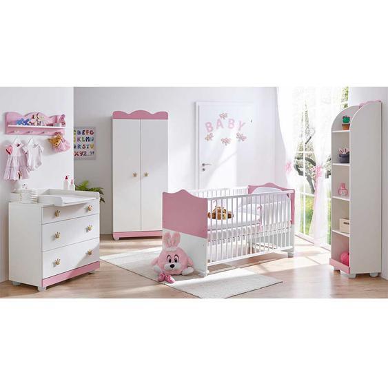 Komplett Babyzimmer im Prinzessin Design Wei� und Rosa (5-teilig)