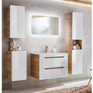 Komplett Badmöbel Set 5-teilig Hochglanz weiß inkl. 60 cm Keramikwaschtisch LUTON-56, B x H x T ca.: 160 x 200 x 46 cm