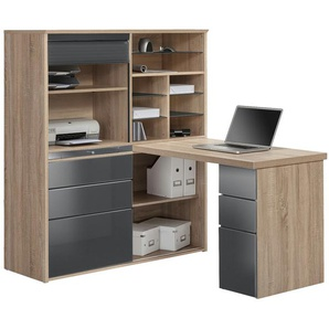 Komplett-Büro  Mosel ¦ grau ¦ Maße (cm): B: 126,6 H: 150 T: 187 Komplett-Büro » Höffner