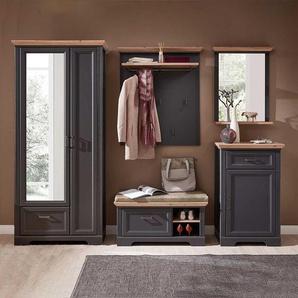 Komplett Garderobe im Landhausstil Dunkelgrau und Eichefarben (5-teilig)