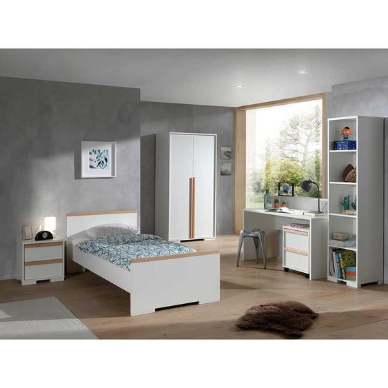Komplett Jugendzimmer in Weiß und Buche 90xx200 cm Bett (6-teilig)