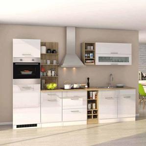 Komplett Küchenblock mit E-Geräten Weiß Hochglanz Eiche Sonoma (12-teilig)