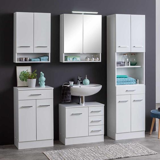 Komplett Möbel Set für Badezimmer Weiß (5-teilig)