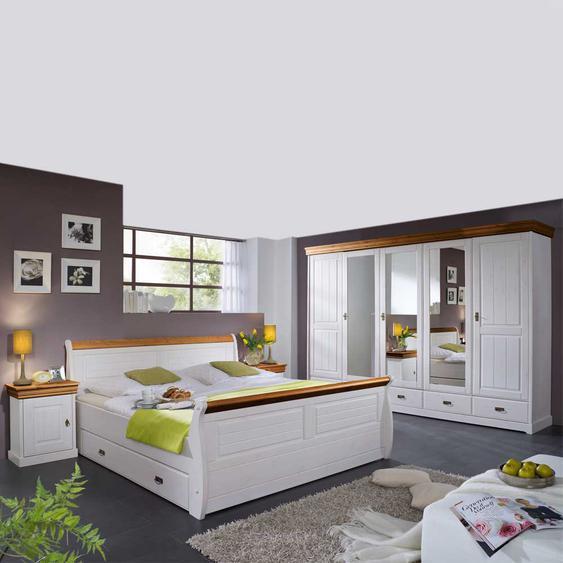 komplett Schlafzimmer in Wei� Honigfarben (4-teilig)