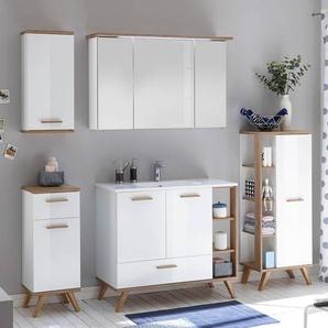 Komplett-Set Badmöbel MALANJE-66 in weiß glänzend & Riviera Eiche quer Nb., mit Mineralgussbecken - B/H/T: 217x200x46cm