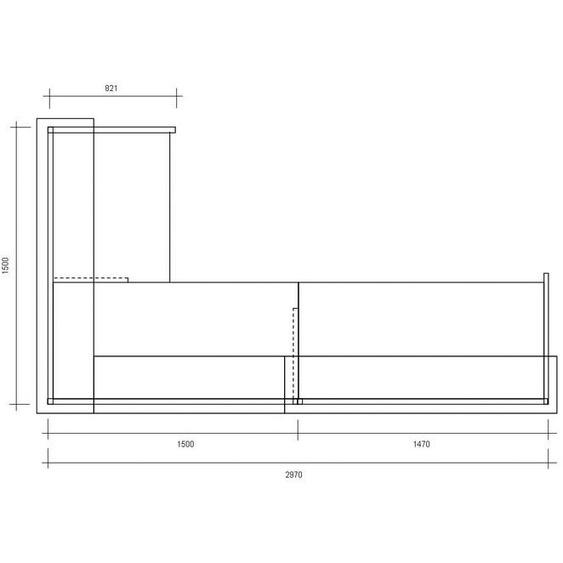 Komplett-Theke ECKIG / Silber / Anthrazit / 297x110x150 cm