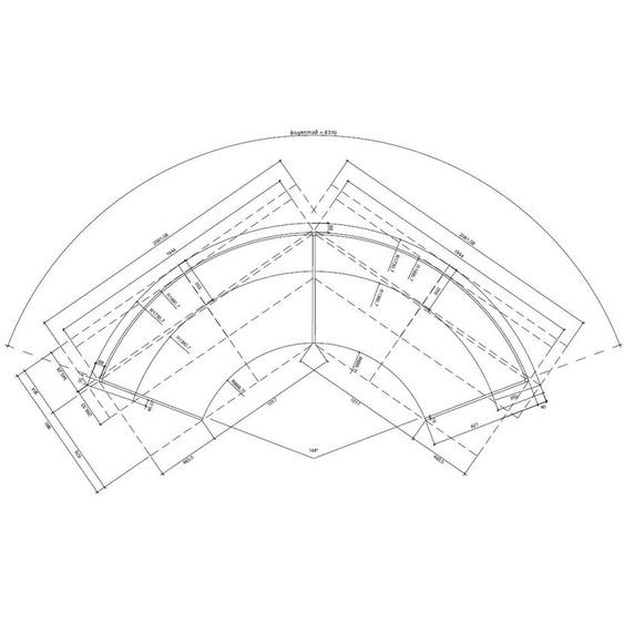 Komplett-Theke RUND / Silber / Anthrazit / 437x110x85 cm
