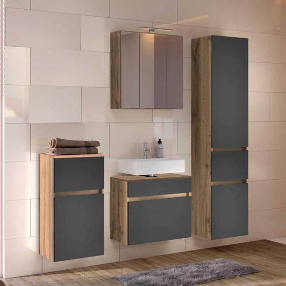 Komplettes Badezimmer Set in Dunkelgrau und Wildeiche Optik 140 cm breit (4-teilig)
