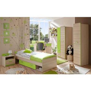 Komplettjugendzimmer in Eschefarben und Hellgr�n 80x190 cm Bett (6-teilig)