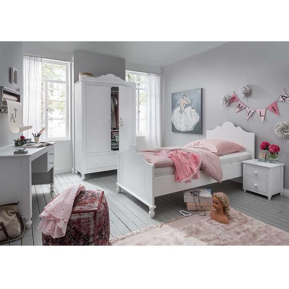 Komplettjugendzimmer in Weiß 90x200 cm Bett (4-teilig)