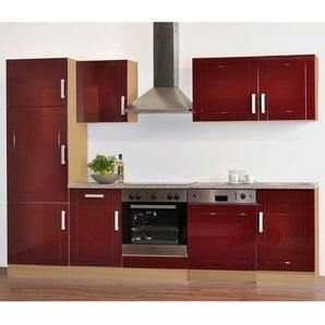 Komplettküche in Rot Hochglanz (neunteilig)