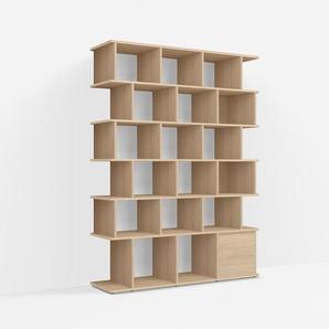 Konfigurierbare Eichen-Bücherwand - Furnier