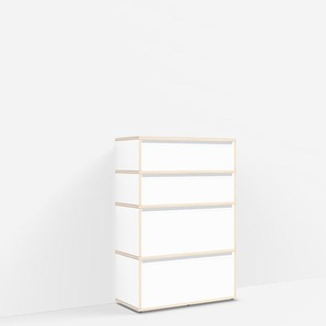 Konfigurierbare Kommode mit Schubladen. Aus Multiplexplatte in Weiß.