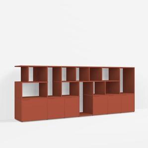 Konfigurierbare Kommode mit Schubladen. Aus Spanplatte in Rot.