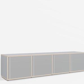 Konfigurierbare Kommode mit Türen. Aus Multiplexplatte in Grau.