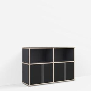 Konfigurierbare Kommode mit Türen. Aus Multiplexplatte in Schwarz.
