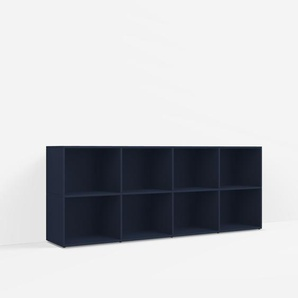 Konfigurierbare Kommode mit Türen. Aus Spanplatte in Blau.