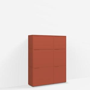 Konfigurierbare Kommode mit Türen. Aus Spanplatte in Rot.