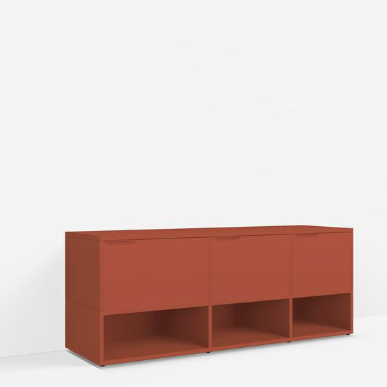 Konfigurierbare TV-Möbel aus Spanplatte in Rot.