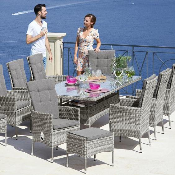 KONIFERA Gartenmöbelset Belluno, (17 tlg.), 8 Sessel, Tisch 200x100 cm, Polyrattan TOPSELLER Einheitsgröße grau Gartenmöbel-Sets Gartenmöbel Gartendeko