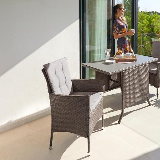 KONIFERA Gartenmöbelset Mailand, (7 tlg.), 2 Sessel, Tisch 112x65 cm, Polyrattan Einheitsgröße braun Gartenmöbel Gartenparty Aktionen Themen