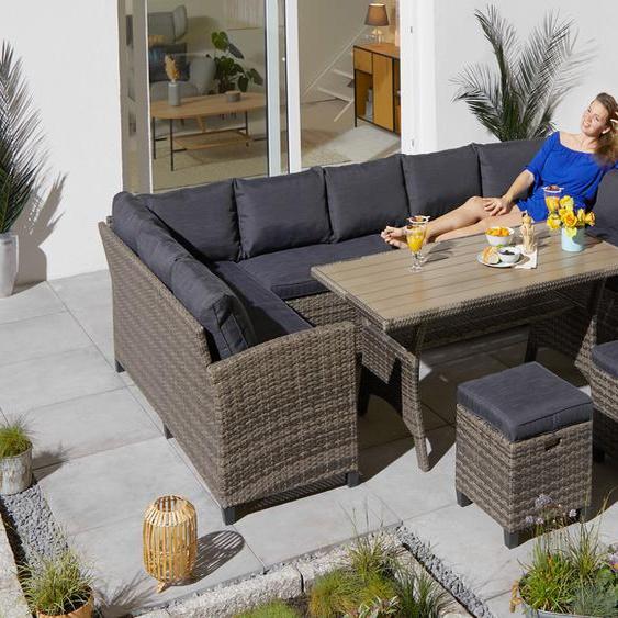 KONIFERA Loungeset Rotterdam, (20 tlg.), 3x Sofa, 2 Hocker, Tisch 120x82 cm, Polyrattan TOPSELLER Einheitsgröße grau Gartenmöbel Gartenparty Aktionen Themen