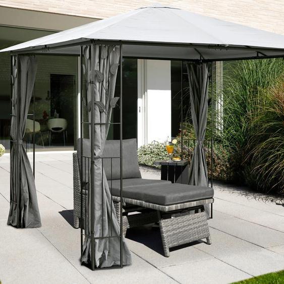 KONIFERA Pavillon Kreta, BxT: 300x300 cm, Stahlgestell B/H/T: 300 cm x 195 grau Pavillons Garten Balkon