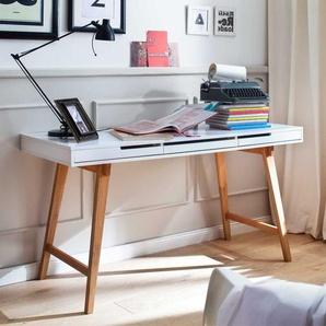 Konsolen Schreibtisch in Wei� Buche 140 cm breit