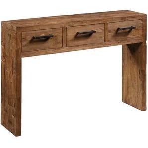 Konsolentisch aus Teak Massivholz Schubladen