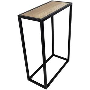 Konsolentisch mit Massivholzplatte schwarzem Bügelfuß