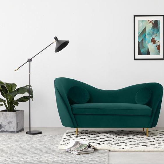 Kooper 2-Sitzer Sofa, Samt in Meerblau