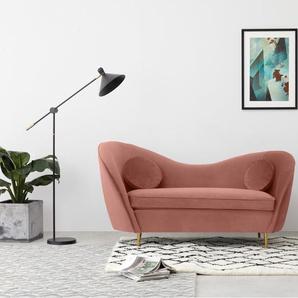 Kooper 2-Sitzer Sofa, Samt in Zartrosa