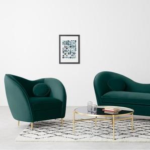 Kooper Sessel, Samt in Meerblau