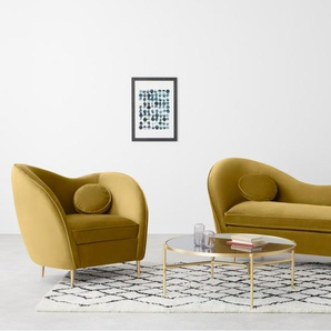 Kooper Sessel, Samt in Vintage-Gold