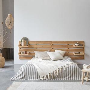 Kopfteil für Bett aus Teak 270 cm Schlafzimmer Doppelbett Massivholz