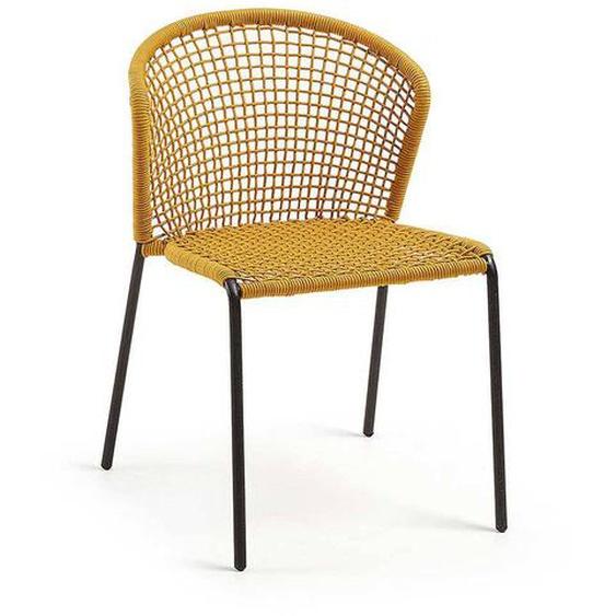 Kordel Geflecht Stühle in Gelb 45 cm Sitzhöhe (4er Set)