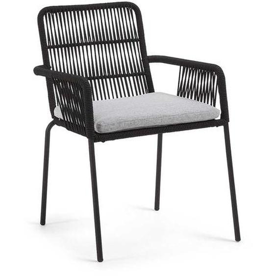 Kordel Geflecht Stühle in Schwarz Armlehnen (4er Set)