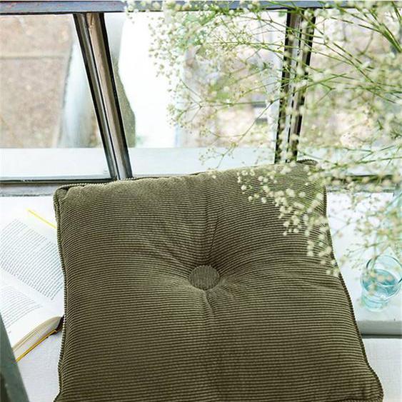 Kordkissen Knopf Olivgrün inkl. Füllung - bunt - Oberstoff 100 % Baumwolle, Polyesterfüllung - Zierkissen & Polsterrollen  Zierkissen